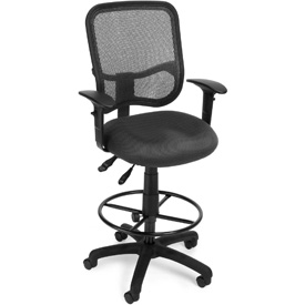 OFM Ergonomic Mesh Task Stool with Arms and Drafting Kit (Footstool) - Gray
