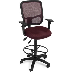 OFM Ergonomic Mesh Task Stool with Arms and Drafting Kit (Footstool) - Wine