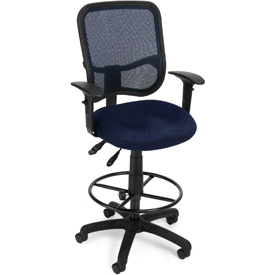 OFM Ergonomic Mesh Task Stool with Arms and Drafting Kit (Footstool) - Navy
