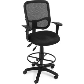 OFM Ergonomic Mesh Task Stool with Arms and Drafting Kit (Footstool) - Black