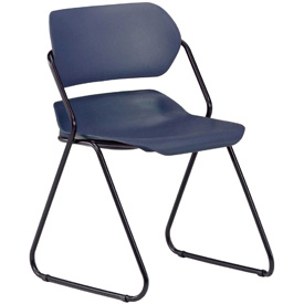 OFM Martisa Series Plastic Stack Chair, Navy with Black Frame - Pkg Qty 4 - Pkg Qty 4