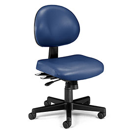 OFM Antimicrobial 24 Hour Task Chair - Vinyl - Mid Back - Navy