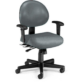 OFM Antimicrobial 24 Hour Task Chair with Arms - Vinyl - Mid Back - Charcoal