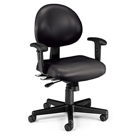 OFM Antimicrobial 24 Hour Task Chair with Arms - Vinyl - Mid Back - Black