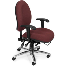 OFM Big and Tall 24 Hour Task Chair with Arms - Fabric - High Back - Burgundy