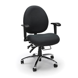 OFM Big and Tall 24 Hour Task Chair with Arms - Fabric - High Back - Charcoal