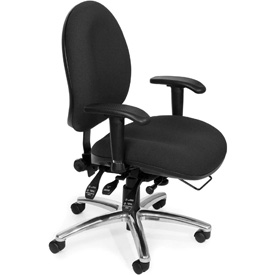 OFM Big and Tall 24 Hour Task Chair with Arms - Fabric - High Back - Black