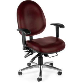 OFM Big and Tall Antimicrobial 24 Hour Task Chair with Arms - Vinyl - High Back - Wine