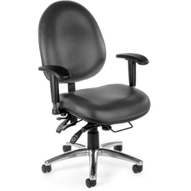 OFM Big and Tall Antimicrobial 24 Hour Task Chair with Arms - Vinyl - High Back - Charcoal