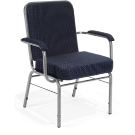 OFM Big and Tall Guest Chair with Arms - Fabric - Mid Back - Pinpoint Navy
