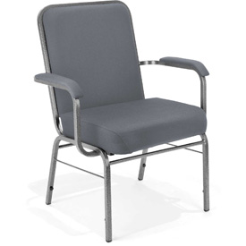 OFM Big and Tall Guest Chair with Arms - Fabric - Mid Back - Gray