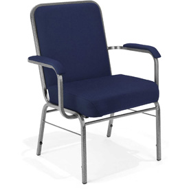 OFM Big and Tall Guest Chair with Arms - Fabric - Mid Back - Navy