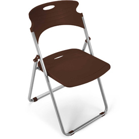 OFM Plastic Folding Chairs - Chocolate - Pkg Qty 4