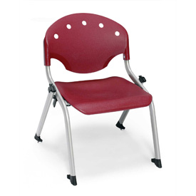 "Rico Student Stack Chair - 18""W X 17""D X 22-1/2""H Burgundy - Pkg Qty 4"