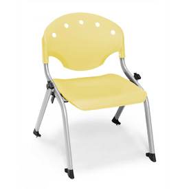 "Rico Student Stack Chair - 18""W X 17""D X 22-1/2""H Lemon Yellow - Pkg Qty 4"
