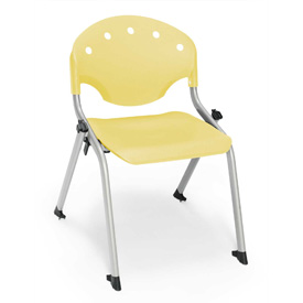 "Rico Student Stack Chair - 18""W X 19""D X 25""H Lemon Yellow - Pkg Qty 4"