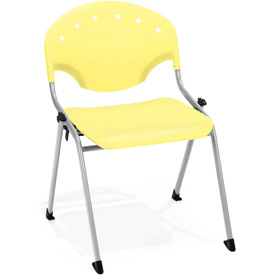 OFM Stacking Chair - Plastic - Lemon Yellow - Pkg Qty 4