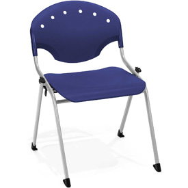 OFM Stacking Chair - Plastic - Navy - Pkg Qty 4