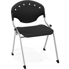 OFM Stacking Chair - Plastic - Black - Pkg Qty 4