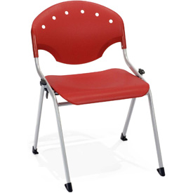 OFM Stacking Chair - Plastic - Red - Pkg Qty 4