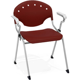 OFM Stacking Chair with Arms - Plastic - Burgundy - Pkg Qty 4