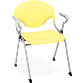 OFM Stacking Chair with Arms - Plastic - Lemon Yellow - Pkg Qty 4