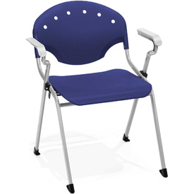 OFM Stacking Chair with Arms - Plastic - Navy - Pkg Qty 4