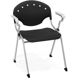 OFM Rico Stack Chair with Arms, Plastic, Black