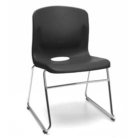 OFM Stacking Chair with Lumbar Support - Plastic - Mid Back - Black - Pkg Qty 4