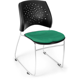 Ofm Stars Fabric Stack Chair, Forest Green - Pkg Qty 4