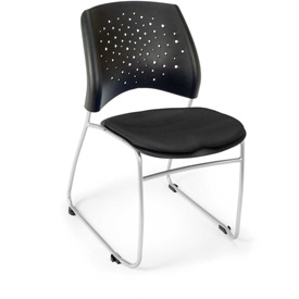 OFM Stacking Chair - Fabric - Mid Back - Black - Stars Series - Pkg Qty 4