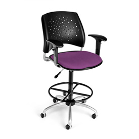 OFM Fabric Swivel Stool with Arms & Drafting Kit (Footstool) - Stars Pattern - Plum