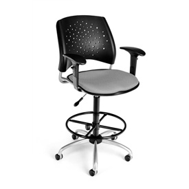 OFM Fabric Swivel Stool with Arms & Drafting Kit (Footstool) - Stars Pattern - Putty
