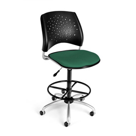 OFM Fabric Swivel Stool with Drafting Kit (Footstool) - Stars Pattern - Shamrock Green