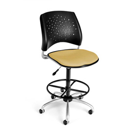 OFM Fabric Swivel Stool with Drafting Kit (Footstool) - Stars Pattern - Golden Flax