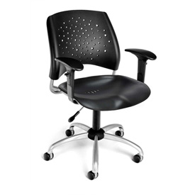 OFM Swivel Office Chair with Arms - Plastic - Mid Back - Black - Stars Series