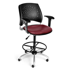 OFM Vinyl Swivel Stool with Arms & Drafting Kit (Footstool) - Stars Pattern - Wine