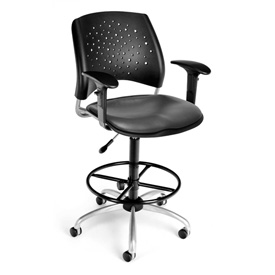 OFM Vinyl Swivel Stool with Arms & Drafting Kit (Footstool) - Stars Pattern - Charcoal