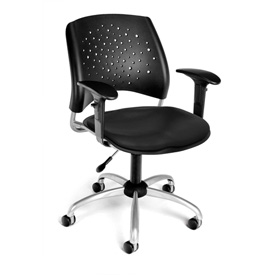 OFM Stars Series Swivel Task Chair with Arms, Anti-Microbial/Anti-Bacterial Vinyl, Mid Back, Black