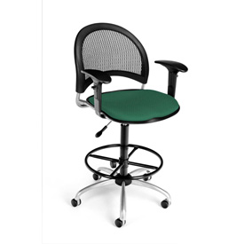 OFM Fabric Swivel Stool with Arms & Drafting Kit (Footstool) - Moon Pattern - Shamrock Green