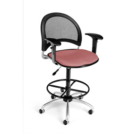 OFM Moon Series Swivel Task Chair with Arms and Drafting Kit, Fabric, Mid Back, Coral Pink