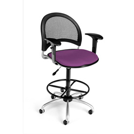 OFM Moon Series Swivel Task Chair with Arms and Drafting Kit, Fabric, Mid Back, Plum