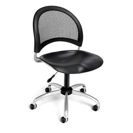 OFM Swivel Office Chair - Plastic - Mid Back - Black - Moon Series