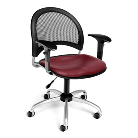 OFM Moon Vinyl Swivel Chair with Arms, Wine
