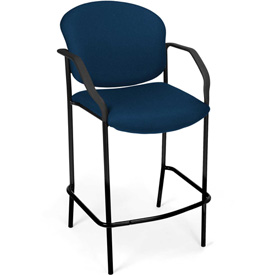 OFM Café Height Chair With Arms - Fabric - Navy - Pkg Qty 2