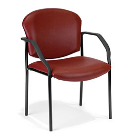 OFM Antimicrobial Guest Chair with Arms - Vinyl - Mid Back - Wine - Manor Series