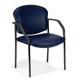 OFM Antimicrobial Guest Chair with Arms - Vinyl - Mid Back - Navy - Manor Series