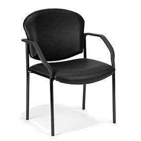 OFM Antimicrobial Guest Chair with Arms - Vinyl - Mid Back - Black - Manor Series