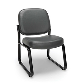 OFM Armless Guest and Reception Chair, Anti-Microbial/Anti-Bacterial Vinyl, Charcoal