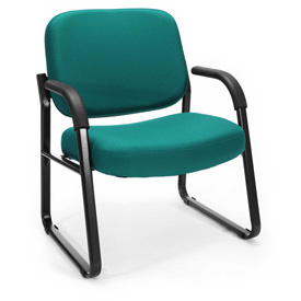 OFM Big and Tall Guest Chair with Arms- Fabric - Mid Back - Teal